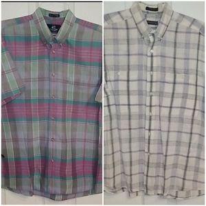 BUNDLE of 2 plaid short sleeve button down shirts